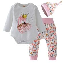 Autumn Newborn Baby Girls Clothes Cotton 3Pcs Set Cute Animal Long Sleeve Bodysuit+Pants+Hat Children Girls Clothing Set
