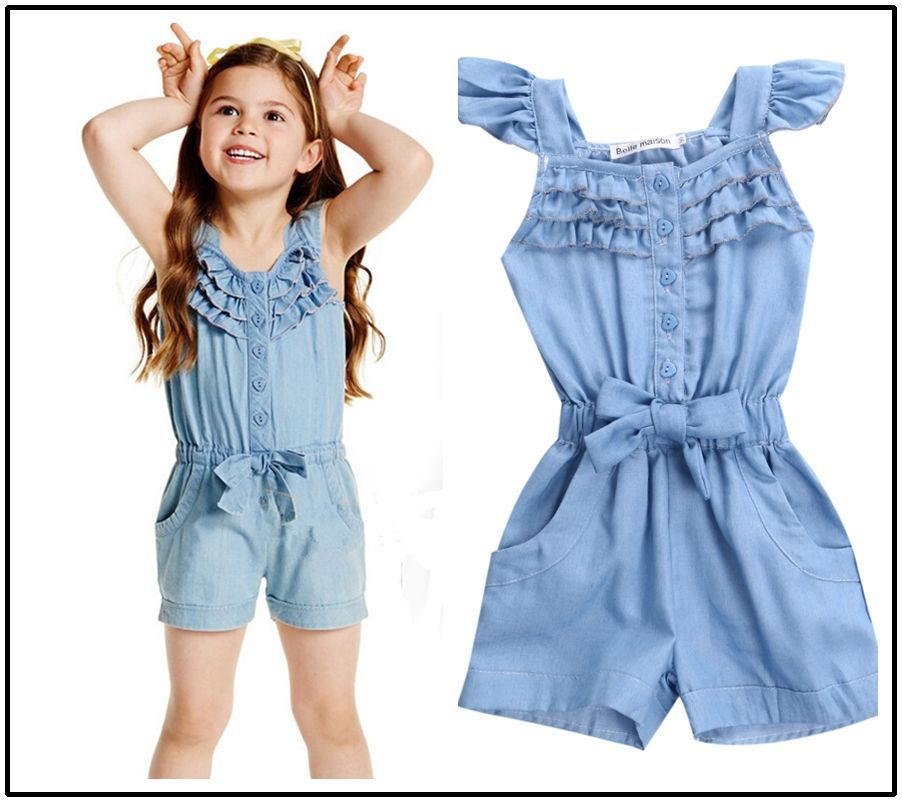 c86fb699a5a5 Children Toddler Kids Girl Clothing Rompers Denim Blue Cotton Washed Jeans  Casual Sleeveless Bow jumpsuit Romper Clothing Girls