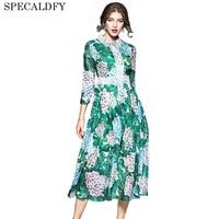 European Fashion Runway Dresses 2017 Women High Quality V Neck Print Summer Chiffon Dresses Party Vestidos