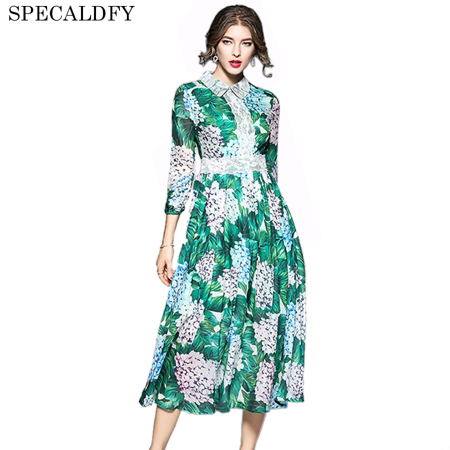 2018 Runway Dress Spring Fashion Women High Quality Floral Print ...