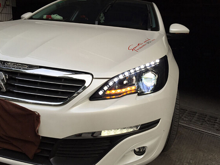 VLAND factory for Car head lamp for Peugeot 408 LED Headlight 2014 2015 2016 Head light with xenon HID projector lens and DRL