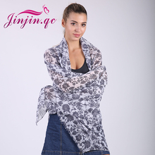 Jinjin.QC women's long print scarf winter floral viscose scarves and wraps female bandana 2017 new fashion shawl drop shipping недорого