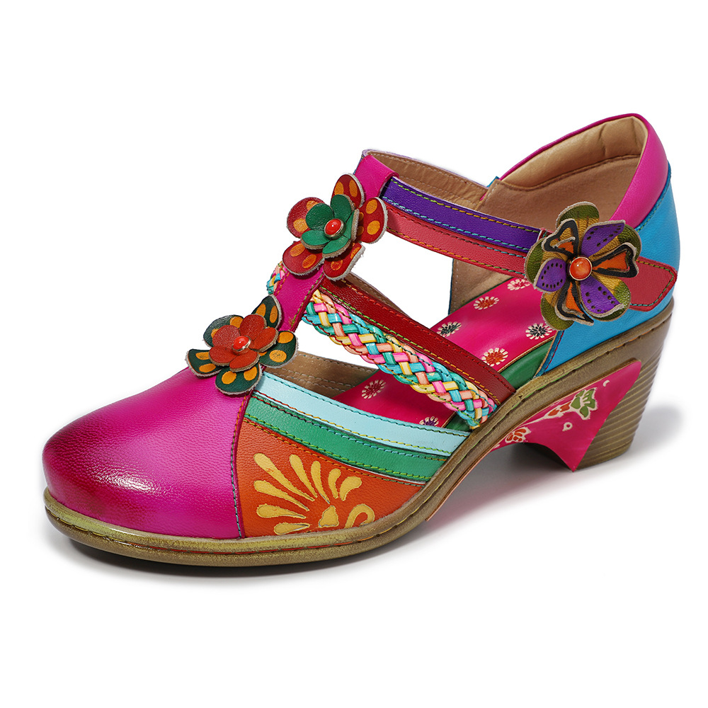 Johnature 2019 New Summer Genuine Leather Casual Hook Loop Hand painted Sewing Retro Flower Women Shoes