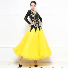 Ballroom Standard Dance Dress 2019 New Style Yellow Competition Dancing Skirt Adult Waltz Ballroom Dance Dresses standard ballroom dresses women 2019 new design white waltz dancing skirt adult high quality ballroom competition dance dress