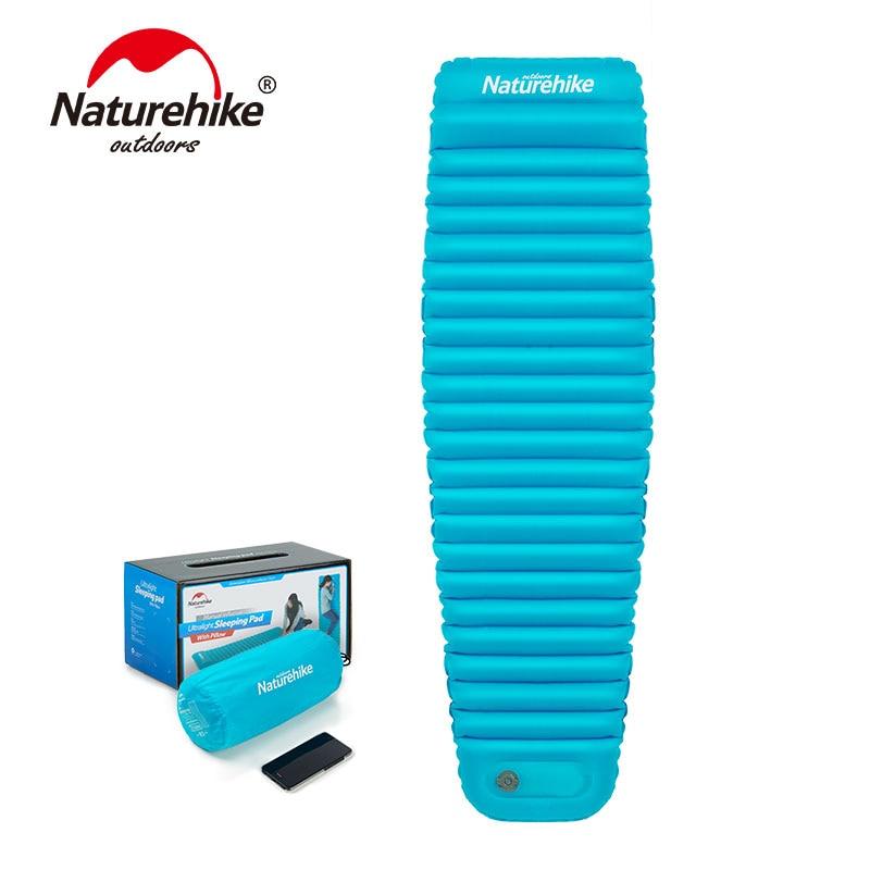 Naturehike NH18Q002-D Camping Travel Hiking Inflatable Air Mattress Bed Mat Sleeping Pad With Pillow 3 in 1 inflatable pillow sleeping eyeshade earplug travel set random color