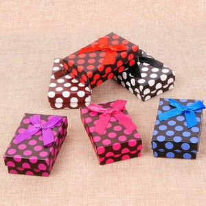 5*8cm Jewelry Box Paper Dot Printed Necklace Ring Earring Boxes Christmas Gift Packaging Jewelry Display 48pcs/lot Black Sponge