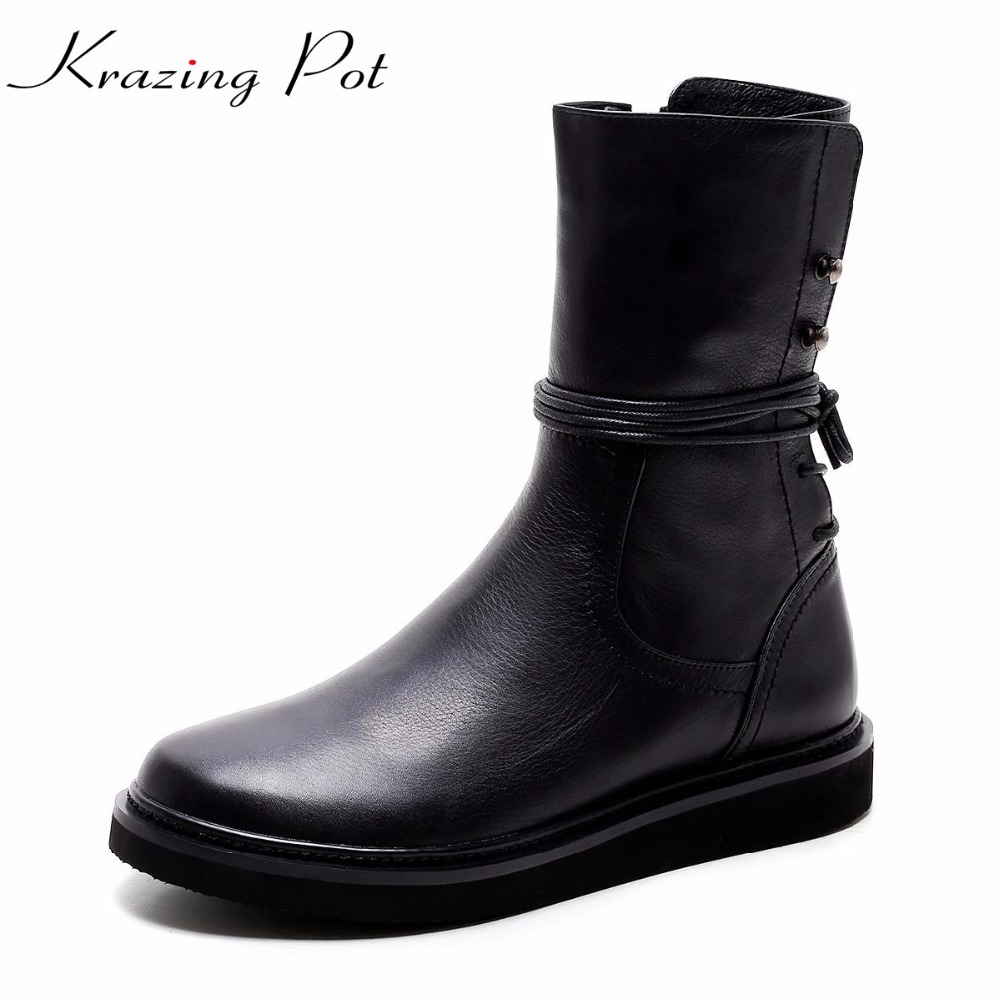 Krazing Pot new 2018 cow leather keep warm round toe lace up boots low heels rock punk handmade wedges riding mid-calf boots L88 new arrival superstar genuine leather chelsea boots women round toe solid thick heel runway model nude zipper mid calf boots l63