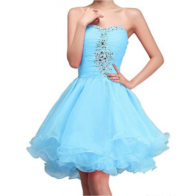 acb16394bfc Cute Short Blue 8th Grade Graduation Dress Beaded Strapless Homecoming  Dresses Mini Party Ball Gown Dress