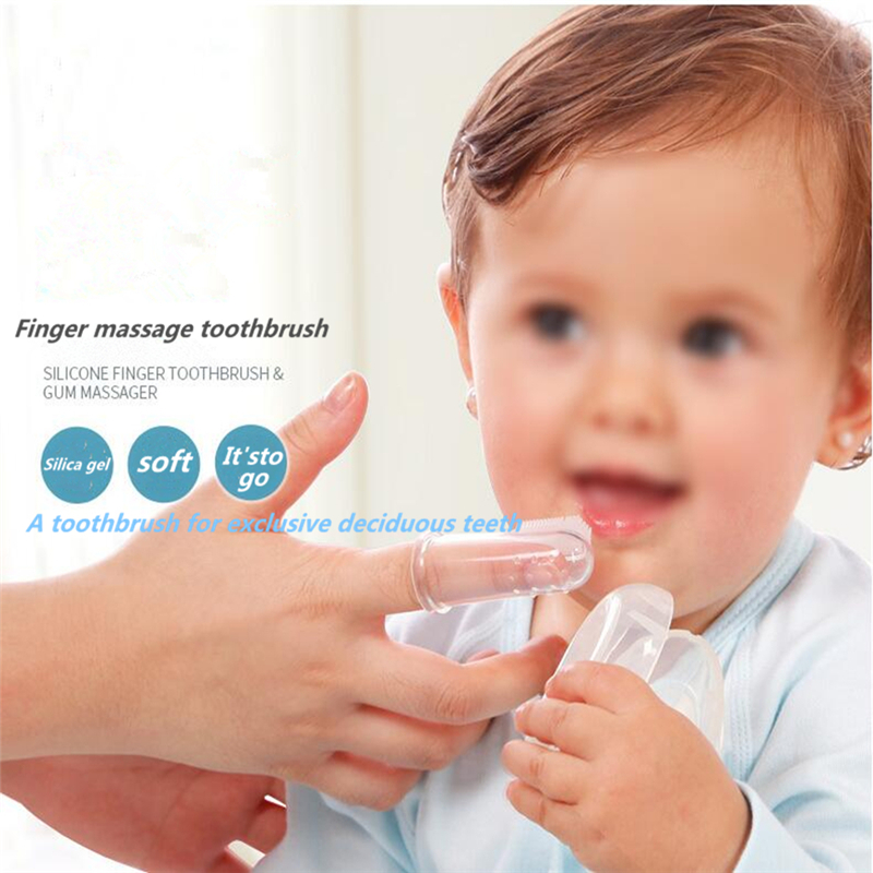 Baby finger toothbrush silicon toothbrush + box child teeth cleaning soft silicone baby toothbrush rubber cleaning baby brush image