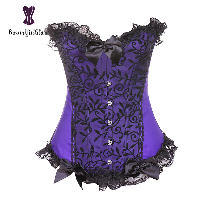 Wholesale Purple And Green Color Slimming Waist Shapewear Bodysuit Overbust   Bustiers   &   Corsets   Lace Up   Corset   With G String 851#