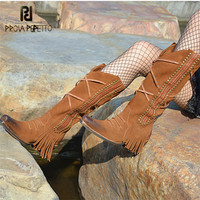Prova Perfetto Brown Suede Women Mid calf Boot Retro High Heel Martin Boots Fringed Platform Shoes Woman Tassels High Boots