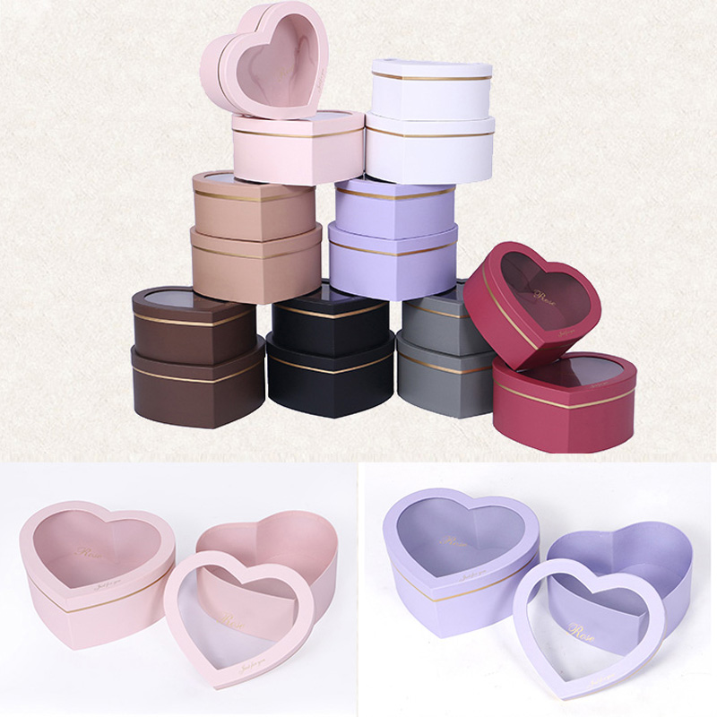 2 Pcs A Set Creative Heart Shaped Transparent Flower Birthday Gift Box Packaging Supply Wedding Party