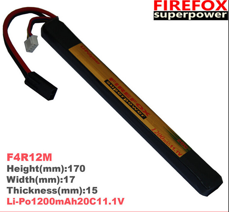 1pcs 100% Orginal FireFox 11.1V 1200mAh 20C Li Po AEG Airsoft Battery L F4R12M Drop Shipping