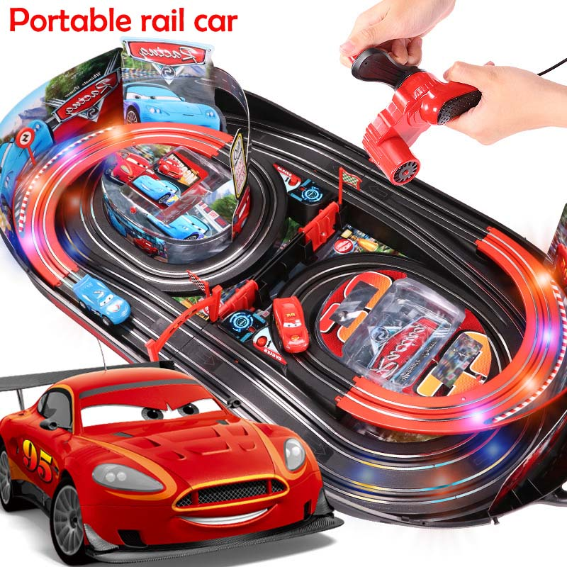 Creative Kids' Assembly Educational Toy Car Parent-child Interaction Portable Rail Dual Battle Game Track Car Toys With LED