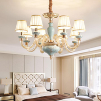 European style ceramic LED Chandelier lights creative drop light retro living room bedroom Chandelier lamp with fabric lampshade
