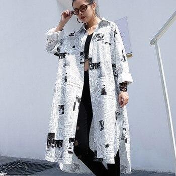 [IASK] 2018 New Spring Summer Fashion Lapel Long Sleeve White Printed Loos Irregular Big Size Long Shirt Ladies Blouse JF008 Рубашка