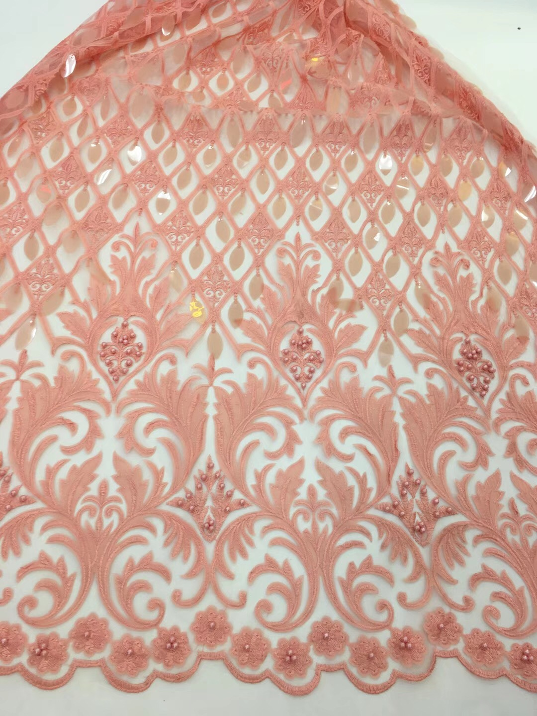 High quality african wedding lace fabric 2019 Orange sequin fabric embroidery tulle french net lace for wedding dress RF166
