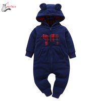 2017 Winter Warm Baby Clothes Infant Baby Boys Girls Thicker Print Hooded Romper Jumpsuit Outfit Kid