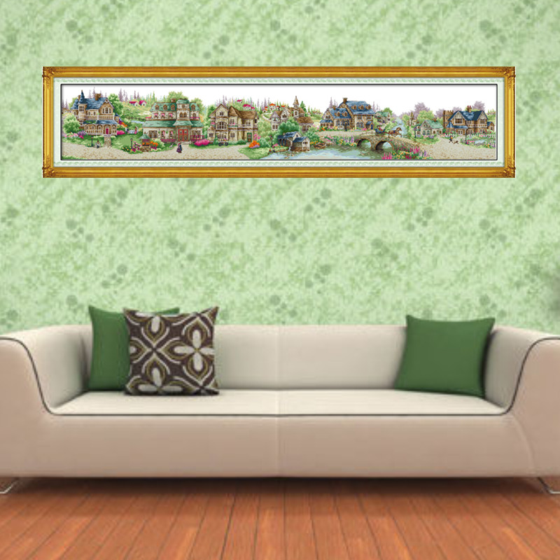 European Town Embroidery Cross Stitch Kit Printed Patterns 11CT 14CT Needlework DIY DMC Counted Cross Stitch Kits For Home Decor