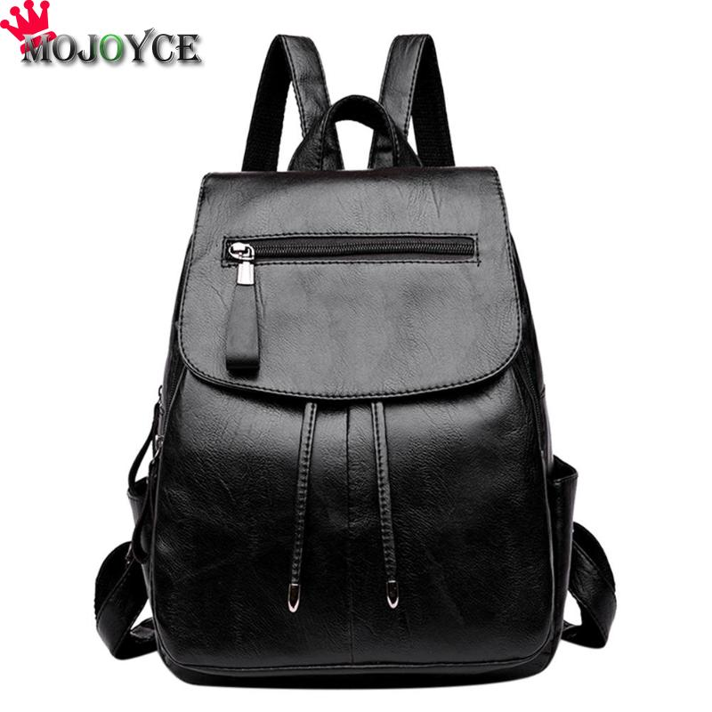 2018 New Casual PU Leather Shoulder School Bag Girl Women Horizontal Zipper Travel Backpack High Quality Black Teenage Backpack sunny shop new flower women drawstring backpack fashion school lady casual print backpack high quality pu leather school bag