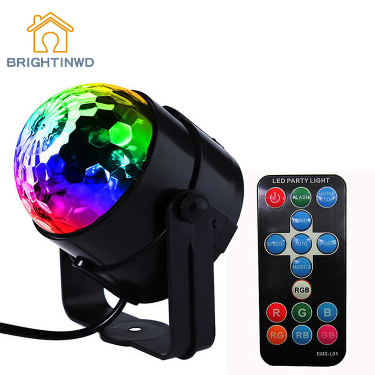 BRIGHTINWD LED Disco Ball Dj Stage Light 3W 220V Sound Activated Strobe Stage Lighting Party Lights Projector Stage Light Mini