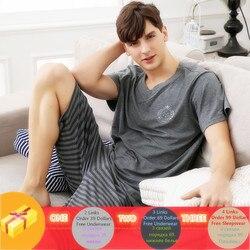 Летний новый вязаный хлопковый пижамный комплект для мужчин с коротким рукавом, мужской пижамный комплект, пижама с буквами для мужчин, кос...