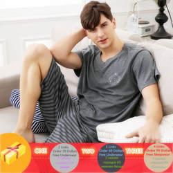 Новые летние трикотажные хлопковые с короткими рукавами, Мужская пижамы наборы мужская пижама комплект Пижама с буквами для Для мужчин