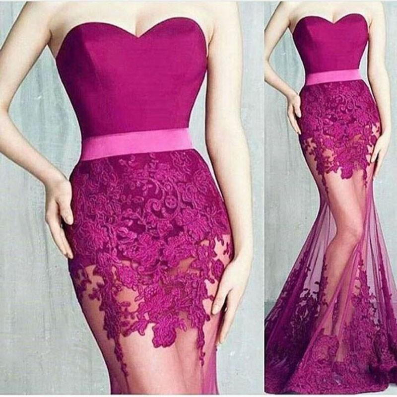Rose pink Floral Lace Evening Dresses