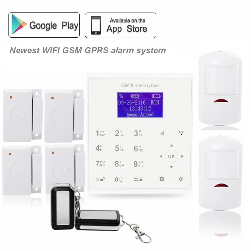 433mhz Wireless Android/IOS APP wifi alarm systems security home gsm sms gprs alarme with PIR infrared sensor цена и фото