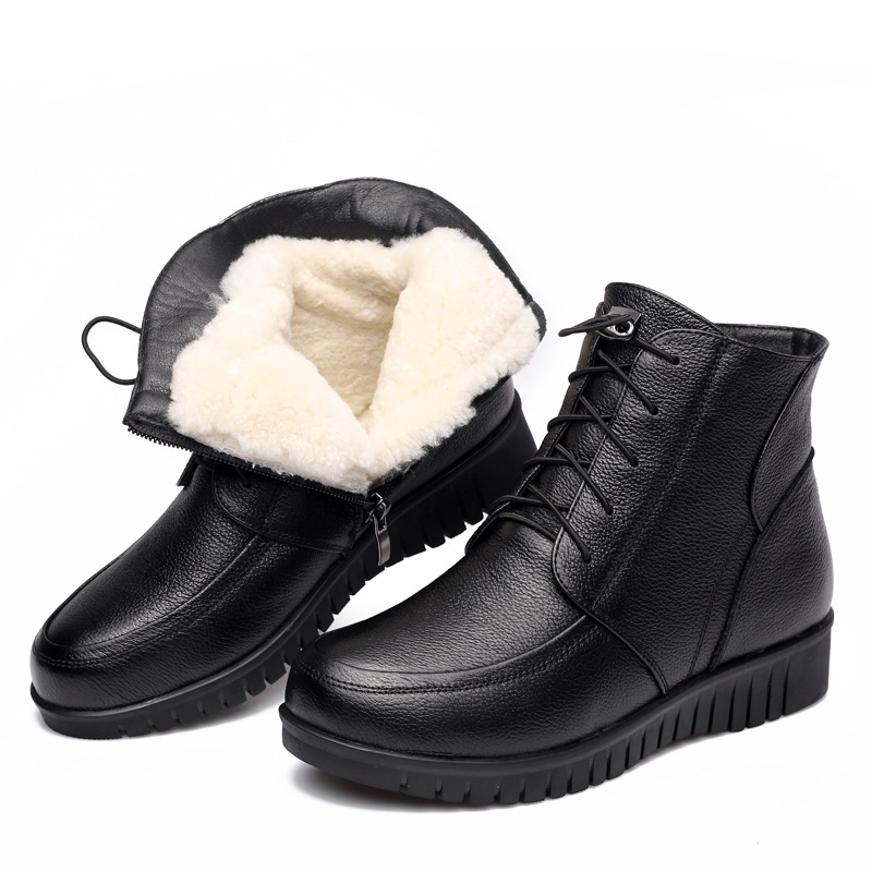 41 Plus Big Size Wool Fur Genuine Leather Snow Boots Woman 2017 Winter New Plush Warm Winter Ankle Boots Mother Cotton Shoes Zip