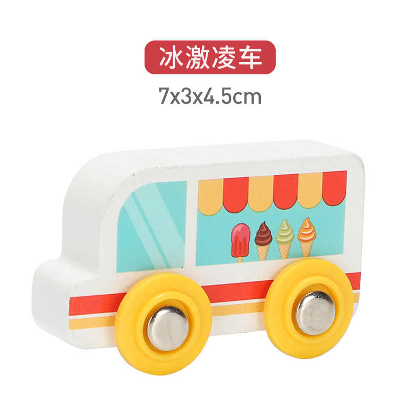 Anak-anak Mainan Mobil Magnetic Kayu Adegan Mobil Truk Pemadam Kebakaran Mobil Ambulance Kompatibel Kayu BRIO Kereta Mainan Anak