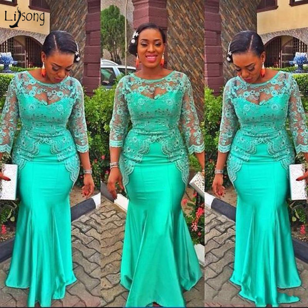 Turquoise African Mermaid   Evening     Dress   2018 Vintage Lace Nigeria Long Sleeves Prom   Dresses   Aso Ebi Style   Evening   Party Gowns