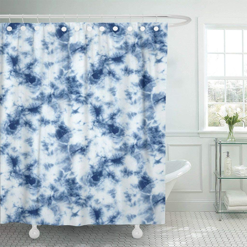 Shower Curtain Blue Abstract Tie Dyed Of Indigo Color On