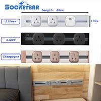 Socketbar 60cm track British wall plug socket dual usb Aluminum alloy home appliances Beautiful Hot