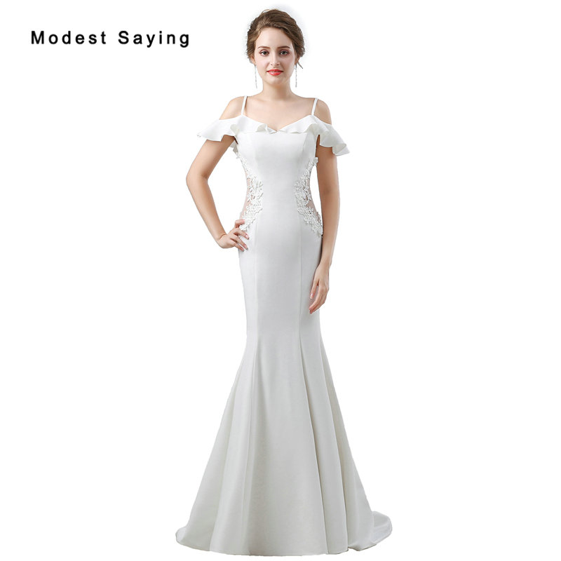 Spaghetti Strap Lace Mermaid Wedding Gowns: Sexy Ivory Mermaid Beaded Lace Wedding Dresses 2018 With