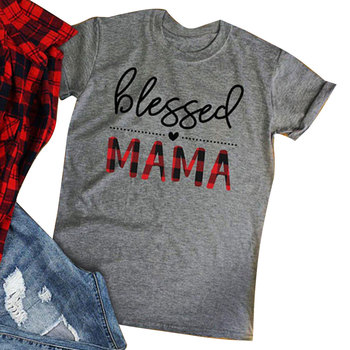 Blessed Mama Letter Print Gray T-Shirt Women