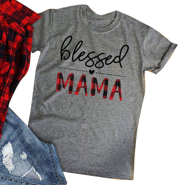 b0dfaefc0429f Blessed Mama Letter Print Gray T-Shirt Women Clothes 2019 Summer Short  Sleeve T shirt