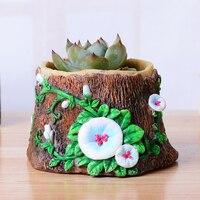 Yaratıcı ağaç stump tencere reçine kreş pot mini masaüstü bitki pot bahçe saksılar ofis masası ev dekorasyon süsler