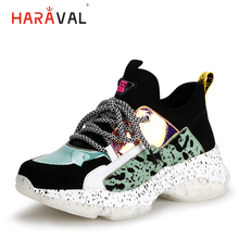 HARAVAL fashion tide brand women sneakers spring and summer new horse hair casual shoes cross lace-up Non-slip N74