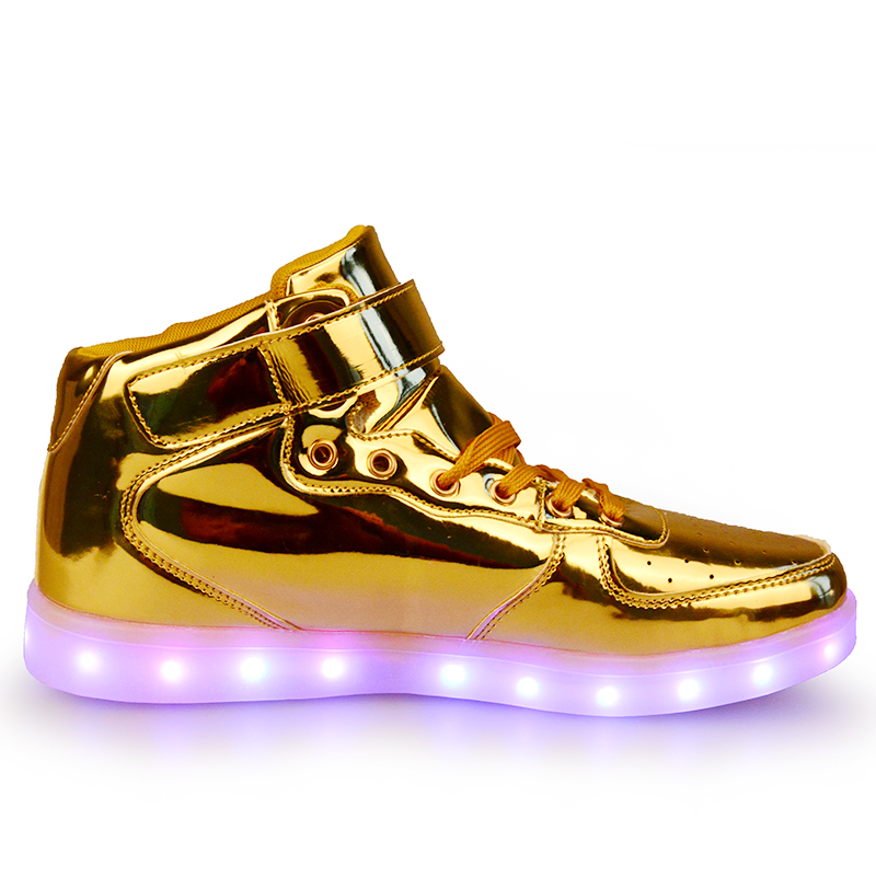 25 40 PU leather High Top Led Light Up Sneakers Boys Girls Little Kids Big  Kids Flashing Board Rechargeable Womens Casual Shoes-in Sneakers from  Mother ... bf538e446a