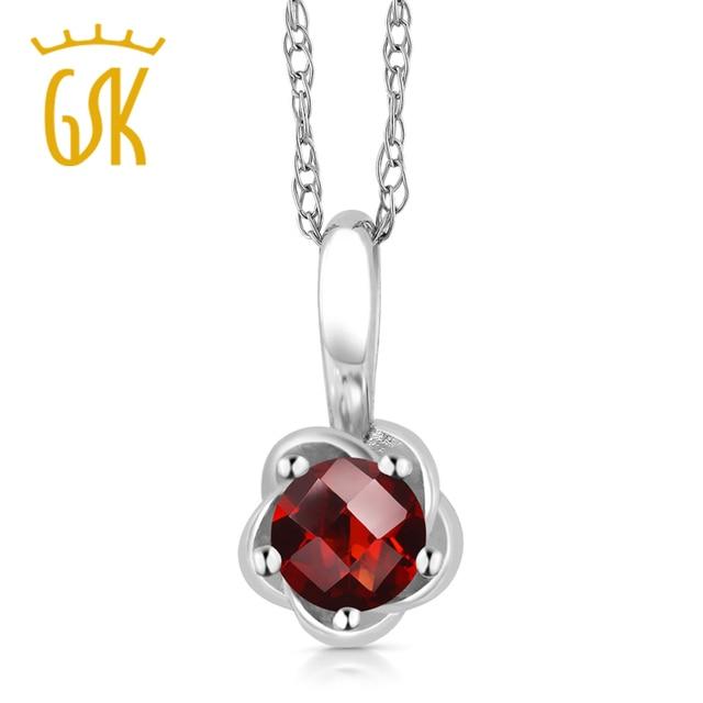 Gemstoneking 0.25 ct ronda damero natural rojo granate 10 k de oro blanco colgante de collar para las mujeres