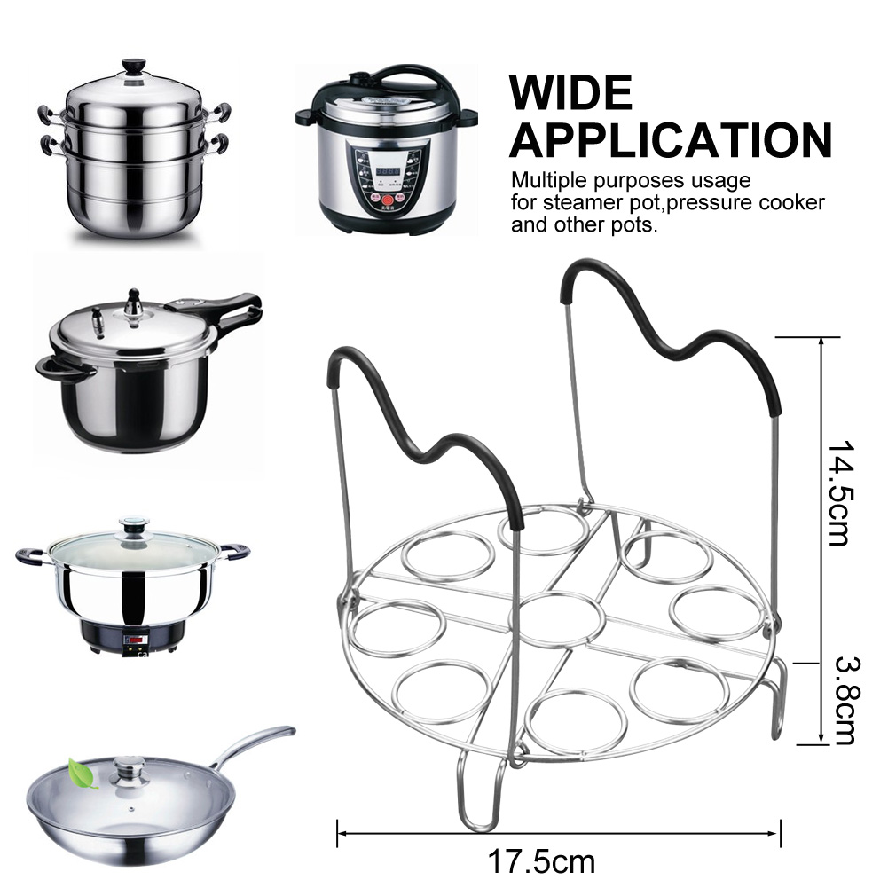 1/2pcs Stainless Steel High-Profile Pot Steamer Kitchen Cookware Bowl Clip Egg Tool Cooking Ware Steaming Rack Stand Kitchen Set