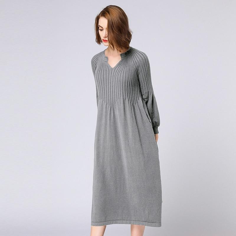 Woolen Knitted Dresses Plus Size Autumn Winter Women 2018 Grey Black Warm Knit Sweater Dresses Femme Dress Vestidos Feminino