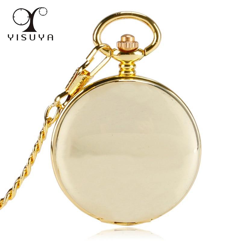 Luxury Golden Smooth Case Double Hunter Mechanical Pocket Watch Retro Stylish Pendant Roman Numerals Hand Wind Skeleton Watch