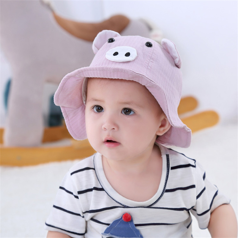 1076673b21b42f 2019 New Spring Summer Baby Girls Sun Hat with Pig Ear Children Bucket Hats  Cotton Baby Hat Kids Beach Cap for Boys Sun Cap-in Hats & Caps from Mother  ...