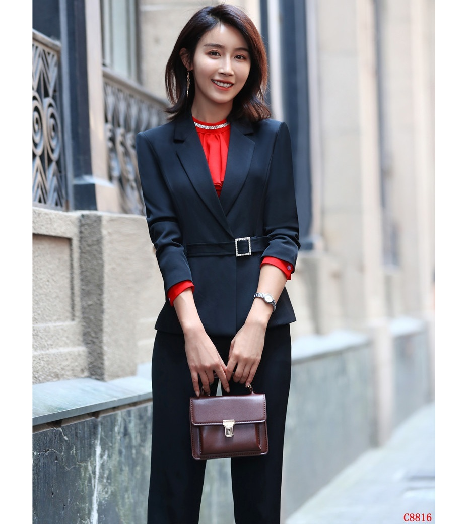 Black Blazer Women Business Suits Formal Office Suits Work Pant and Jackets Set Ladies Office Uniform Designs Pantsuits