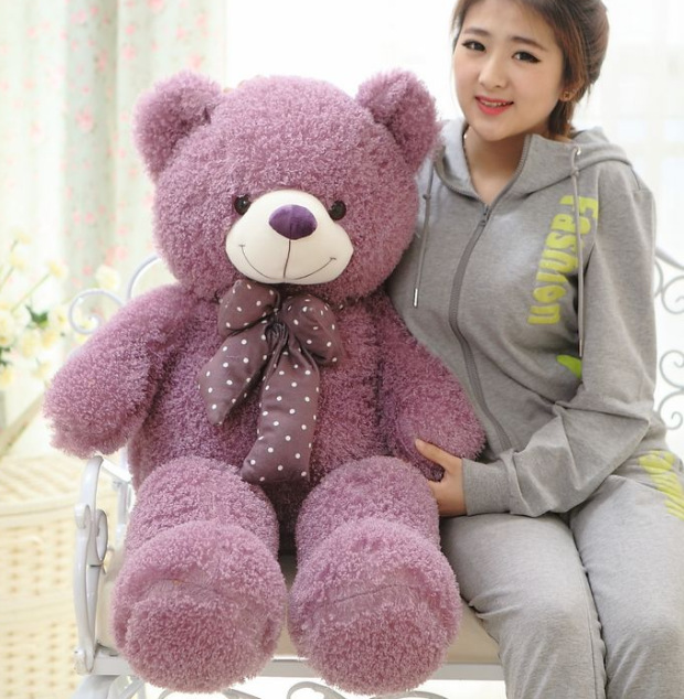 big new plush purple bear toy huge lovely bow Mercerized bear doll gift about 160cm 0196 huge lovely panda toy big plush panda with stripe clothes birthday gift about 90cm
