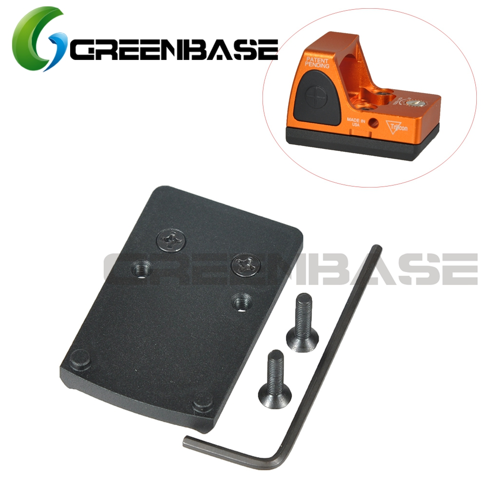 Greenbase Pistol Rear Sight Replace Plate Base Mount Fits RMR Red Dot Sight For Real Fire Caliber, Fits For Glock 17 19 22