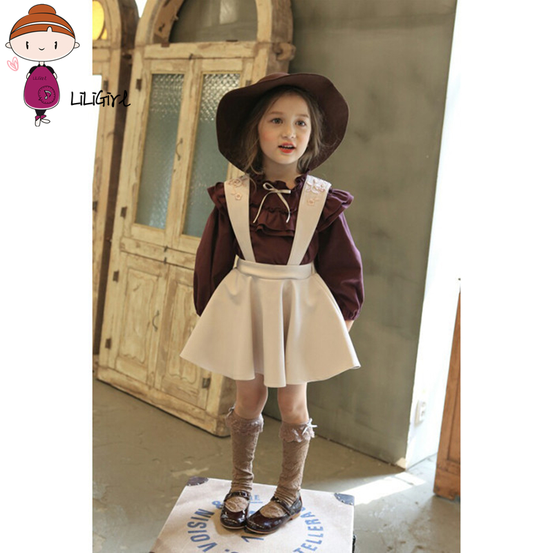 Toddler Girl Clothes Set Dress Baby Puff Sleeve Tops+Embroidery Belt Skirt Elegant Princese Strap dresses Suit Autumn Winter New
