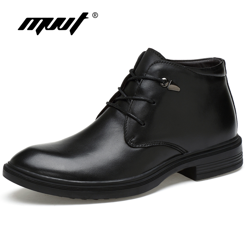 MVVT Plus Size Men Winter Boot With Fur Genuine Leather Formal Ankle Boots Dress Shoes Men